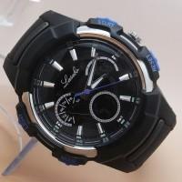 Jual Jam Tangan Pria / Cowok Lasebo LB310 Original Rubber Black List Blue Murah