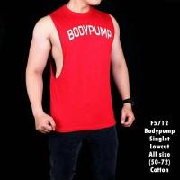 Kaos Singlet Pria Body pump merah