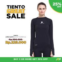 Tiento Baju Olahraga Ketat Lengan Panjang Hitam Thumbhole Original