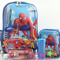Jual Tas Troli Anak 5 In 1 3D Spiderman Blue Murah