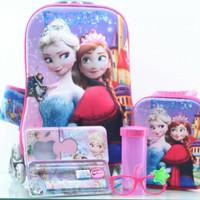Jual Tas Troli Anak 5 In 1 3D Frozen Elsa Ungu Castle Murah