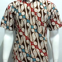 kemeja batik seno gede merah turquish