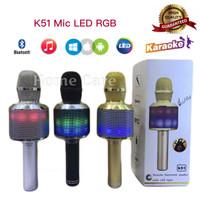 Jual K51 Mic Wireless Bluetooth Karaoke LED RGB Microphone Speaker Q7 / Q9 Murah