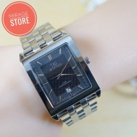 Jam Tangan Mirage 73-77 Silver Black For Men