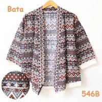 kardigan kimono batik cardigan jepang kiwir rumbai cream merah bata