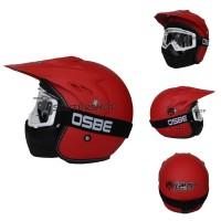 Helm JPN Racing Semi Cross Trail Touring Retro Klasik Japstyle Merah D