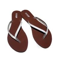 sendal jepit fashion wanita flip flop cewek silver sandals - fse082