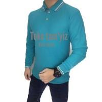 Polo shirt//Kaos polo panjang BIRU TOSCA//Baju polo//kaos polo krah