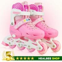 Sepatu roda anak Roller Skate dengan Set Pengaman warna Pink size M