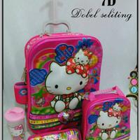 Jual Sale ! Tas Trolley Anak 2 Ruang/Resleting Hello Kitty 7D 4in1 Murah
