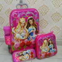 Jual Sale ! Tas Troli Anak 4 In 1 7D Barbie Murah