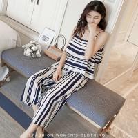 Setelan Hitam Putih Garis Tanpa Lengan dan Celana Longgar 35534-L