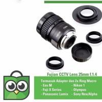 Lensa mirrorless Fujian 25mm f1.4 CCTV Lens sony,eosm,nikon,m43,fuji