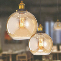 Lampu Hias gantung Vintage Kaca Teh Bentuk Bulat L 582
