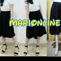 rok hitam midi flare skirt