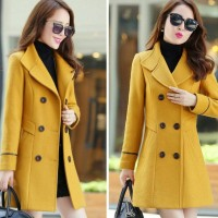 jaket mantel coat baju hangat wanita korea JESSIE Cream & Navy