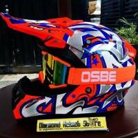 Paket Helm cross JPX Graffiti Orange Fluo Goggle Osbe Orange Fluo