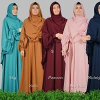 Gamis set khimar wolfis grade A/ Setelan hijab murah
