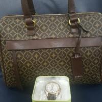 BUNDLING Tas dan Jam tangan BF raisin FOSSIL