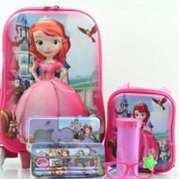 Jual Promo ! Tas Troli Anak 5 In 1 3D Sofia Castle Murah