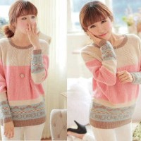 [sweater pinky RO] sweater wanita rajut pink