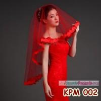 Slayer Pengantin Modern Merah l Aksesoris Kerudung Rambut - KPM 002