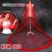 Kerudung Pengantin Merah l Aksesoris Rambut Slayer Wedding- KPM 003