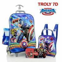 Jual Sale ! Tas Trolley Anak 4 In 1 7D Captain America Murah