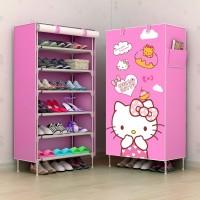 R06 NEW Rak Sepatu Kain Lemari SEPATu 6 Ruang HELLO KITTY HK