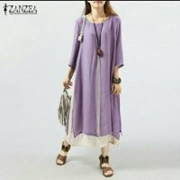 ZANZEA Womens Sleeve Double Layers Long Maxi Shirt (Import)