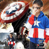 Jual JAKET ANAK CAPTAIN AMERICA BLUE AND NAVY JACKET SWEATER MANTEL HADIAHJ Murah