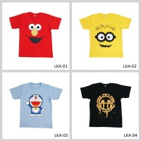 Kaos Anak Motif Karakter Elmo, Minion, Spongebob, Doraemon, dll