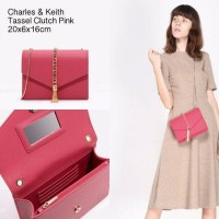 Tas wanita Charles and Keith Clutch pesta tassel