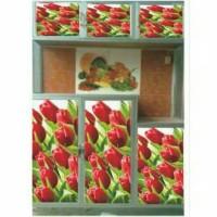 stiker rak piring 6 pintu,motif bunga, terlaris,harga murah