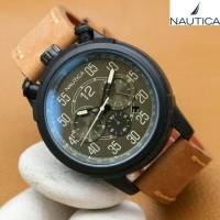 Jam Tangan Pria / Cowok Nautica Leather Strap Brown