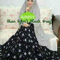 Gamis Syari Star Black Grey