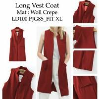 [long vest voat maron RO] longvest wanita woll crepe maroon