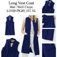 [long vest coat navi RO] longvest wanita woll crepe navy
