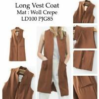 [long vest coat mocca RO] longvest wanita woll crepe mocca