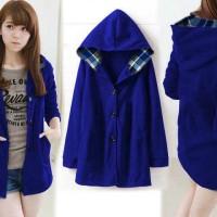 [jaket Melda elektrik RO] jaket wanita babyterry biru elektrik