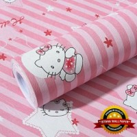 Wallpaper Sticker Dinding 10M - Hello Kitty Garis Pink