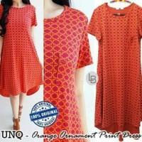 NK5969 C877 Uniqlo Orange Ornament Print Dress KODE MP5969