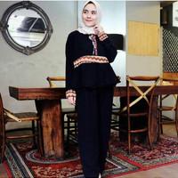 pafina set atasan dan celana panjang kulot/setelan muslim kulot