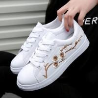 Sepatu Wanita Kets Casual - Sneakers Bordir Bunga DK48 - Gold