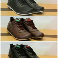 Jual Sepatu Sneakers Casual Kickers Slip On Pria kulit Hitam Coklat Murah Murah