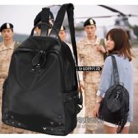 Jual Backpack Nylon + Kulit PU -Tas Ransel Wanita Rock Star Impor Hitam ABG Murah