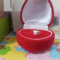 Cincin Emas Asli 18 Karat Bayi Anak Hello Kitty Perempuan Cewek Promo