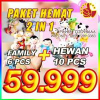Jual Paket Hemat Boneka Jari Animal dan Family (hewan Keluarga) 16 pcs Murah