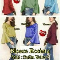 terompet blouse atasan wanita baju polos satin pesta xl jumbo big size