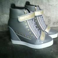 Jual Sepatu Wanita Sneaker Wedges Grey Gliter Murah